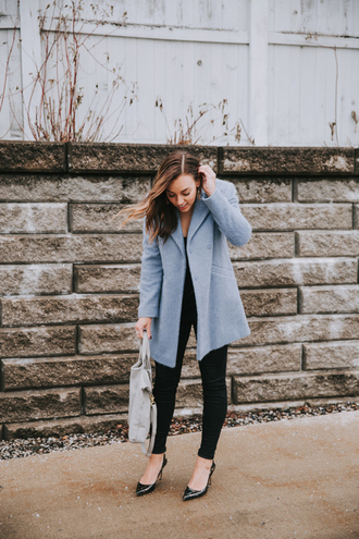 sharingmysole blogger coat sweater jeans bag shoes blue coat winter outfits black jeans high heel pumps pointed toe pumps