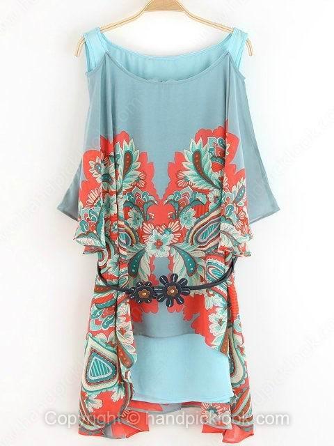Blue Tank Half Sleeve Vintage Floral Print Chiffon Dress - HandpickLook.com
