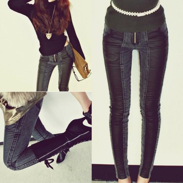 jeans i4out clothes pants faux faux leather leggings denim clothes leather leggings perfect combination high heels