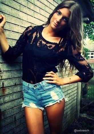 blouse lace top denim shorts