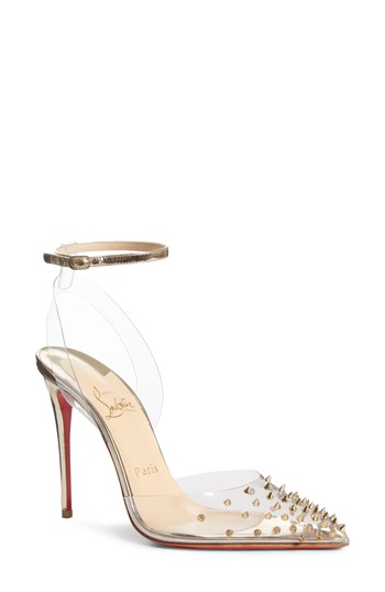 low priced c5dee ee10f Christian Louboutin Spikoo Clear Ankle Strap Pump | Nordstrom