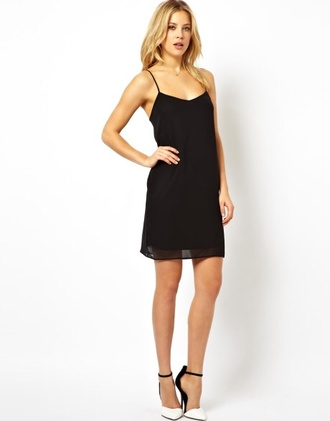 dress black cami dress black slip dress spaghetti strap silk loose mini dress