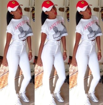 shirt tupac america white pants high waisted red lipstick red and black hat jeans