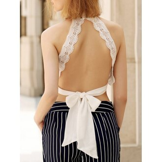 top white bow summer open back sexy girly cute fashion style rosewholesale.com rose wholesale