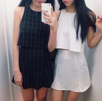 top skirt t-shirt style shirt dress plaid skirt plaid striped skirt stripes cute dress cute top