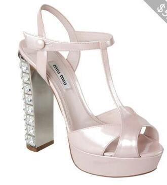 shoes heels rhinestone strappy heels miu miu