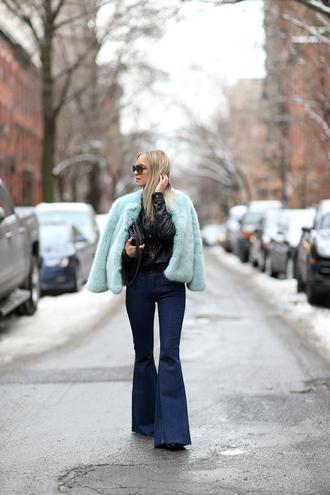 the fashion guitar blogger flare pants faux fur jacket mint jeans shirt jacket bag sunglasses flare jeans