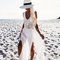 White weave top split maxi beach dress