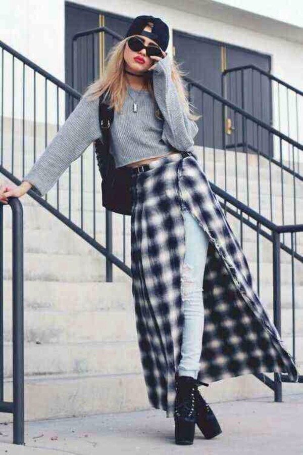 skirt grunge jeans black pale grunge plaid flannel blue white beanie winter outfits sweater
