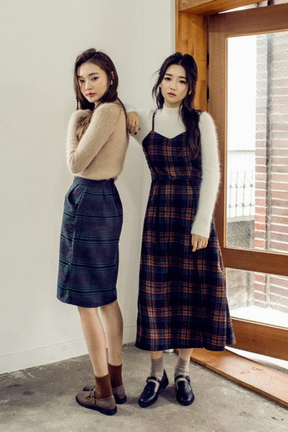 Skirt Check Midi Style Fashion Mdi Vintage