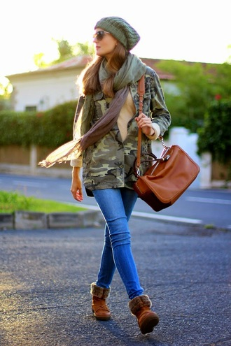 blogger khaki sunglasses bag jacket jeans marilyn's closet blog camouflage knitted beanie red lime sunday