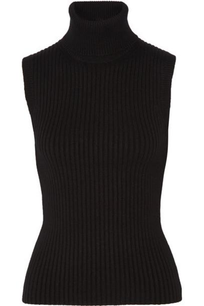 Michael Kors Collection - Ribbed Stretch Cashmere-blend Turtleneck Top - Black