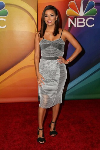 dress midi dress grey metallic silver eva longoria bustier dress sandals shoes