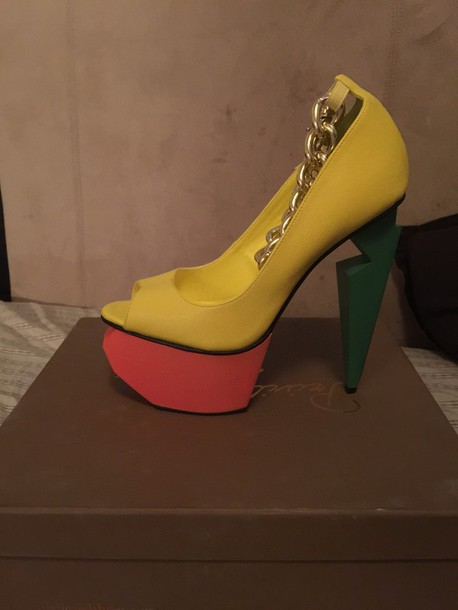 shoes yellow green heels