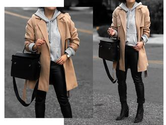 theversastyle blogger coat sweater pants bag shoes hoodie beige coat boots black pants