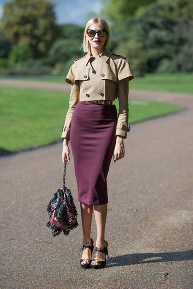 coat jacket skirt pencil skirt streetstyle fall outfits