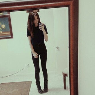t-shirt acacia brinley black crop tops jeans shoes top black top