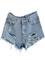 Blue mid waist ripped denim short