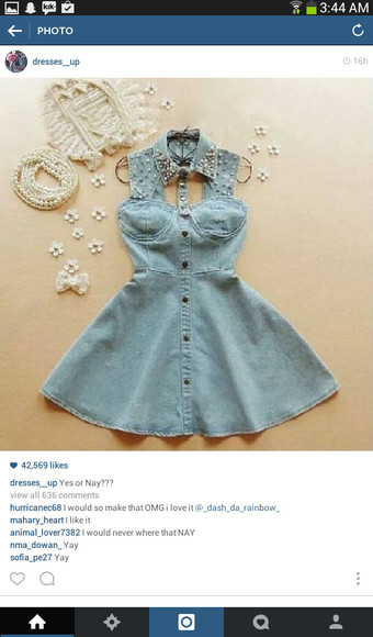dress bkue denim bkue dress denim denim dress studs