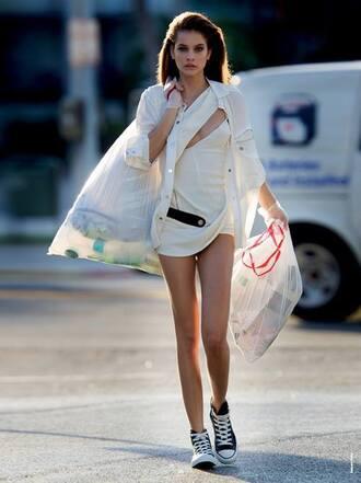 dress summer dress white barbara palvin converse blouse