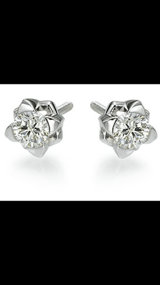 jewels stud earrings piercings flower rose diamonds