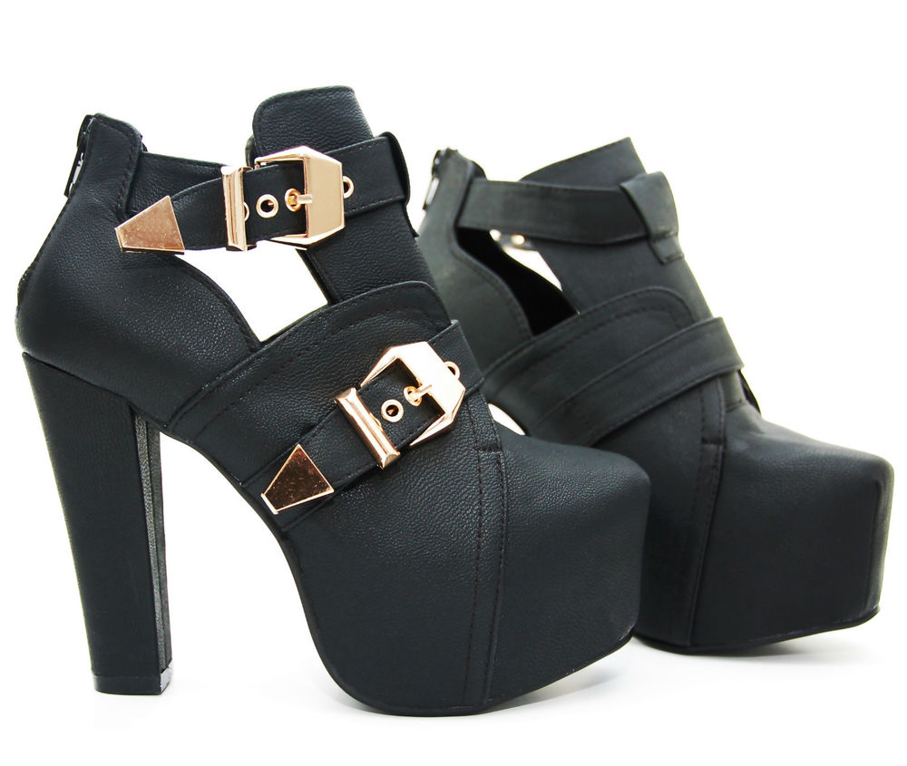 LUXUS High Heels Pumps Ankle Plateau Boots Stiefeletten Schwarz Cut Out Trent   eBay