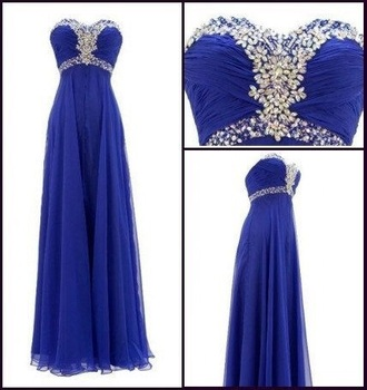 dress blue prom sweetheart chiffon long dress prom dress