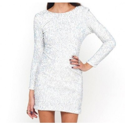 Sequin long sleeve slim bodycon night club dress for women