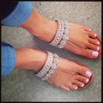 shoes flats white sandals beige diamonds