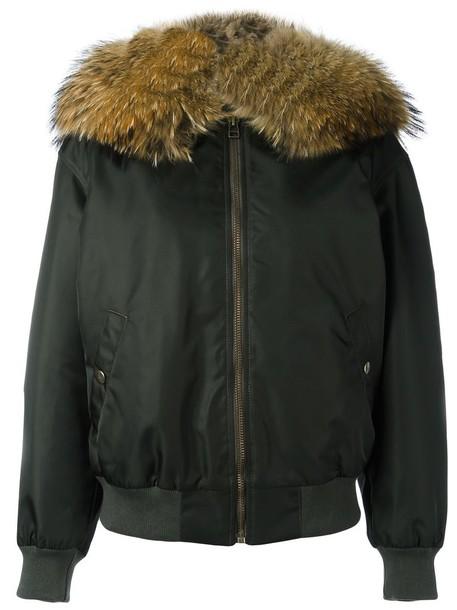 Mr & Mrs Italy - fur collar bomber jacket - women - Racoon Fur/Polyamide/Polyurethane/Viscose - XS, Green, Racoon Fur/Polyamide/Polyurethane/Viscose