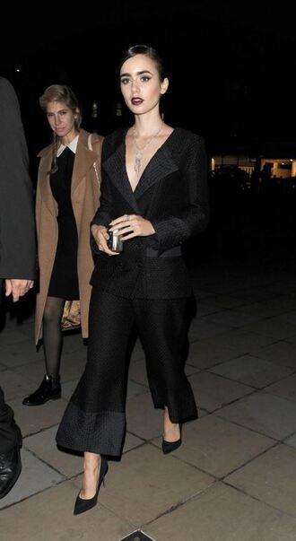 pants blazer suit lily collins all black everything pumps
