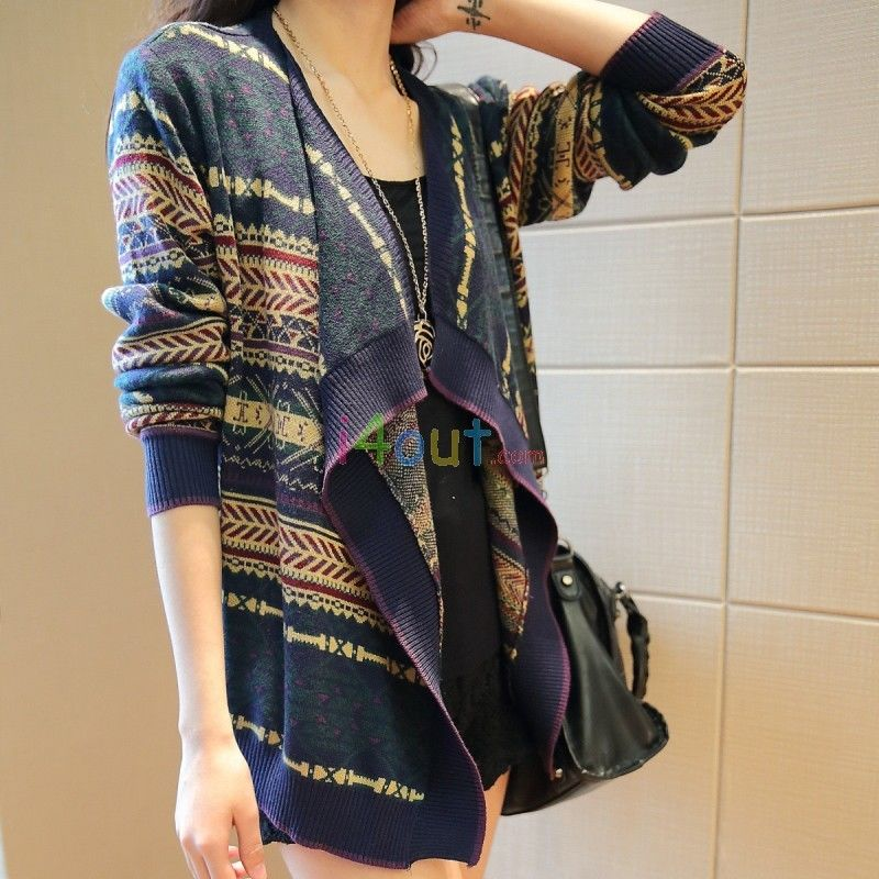 Women Long Sleeves Colorful Aztec Cardigan Sweater Jacket