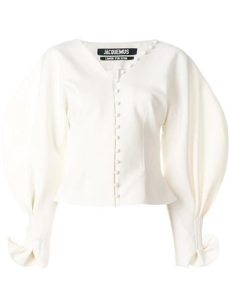 Jacquemus blouse women spandex white wool top
