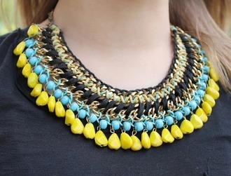 jewels coliers astec aztec jaune perles