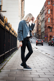chaloth,blogger,jacket,pants,shoes,sneakers,grey,casual,shirt,belt