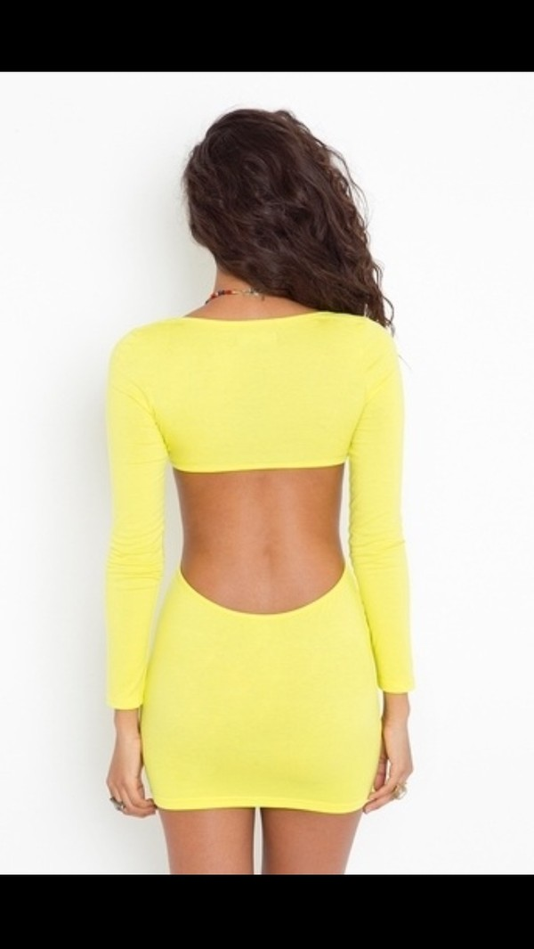 dress yellow dress cut out bodycon dress bodycon dress yellow cotton half-sleeved flirty cut-out dress sexy summer clubwear neon