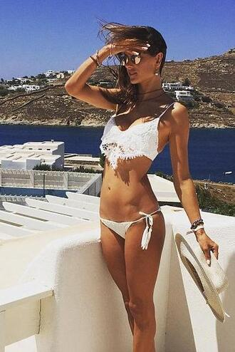 swimwear bikini bikini top bikini bottoms alessandra ambrosio white bikini