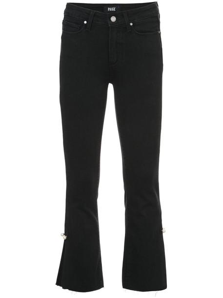 Paige jeans cropped jeans cropped women spandex cotton black