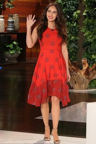 dress asymmetrical dress red dress megan fox sandals