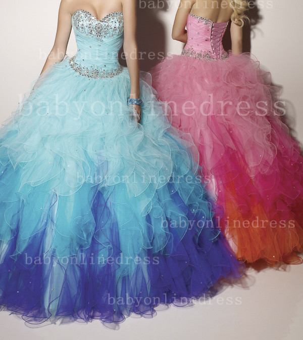 On sale custom made colorful 2013 modern quinceanera dresses ball gowns sweetheart beaded ruffles tulle lace up back hsc 005