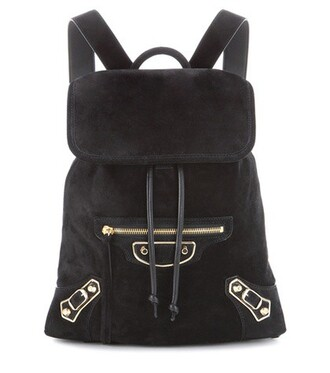 metallic backpack suede black bag
