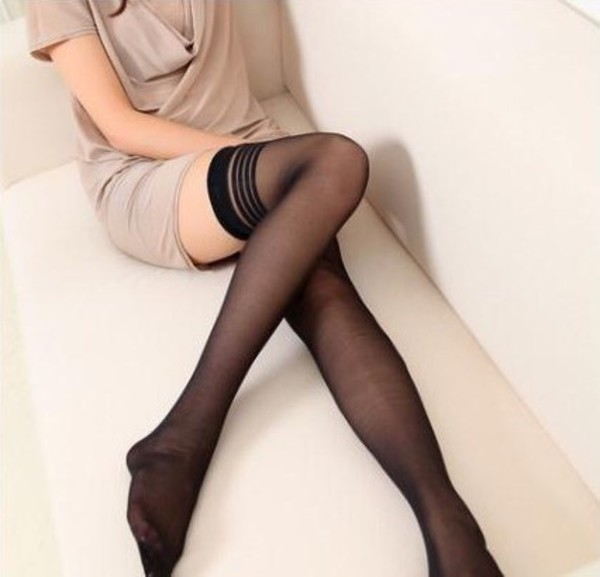 how to put on thigh high stockings
