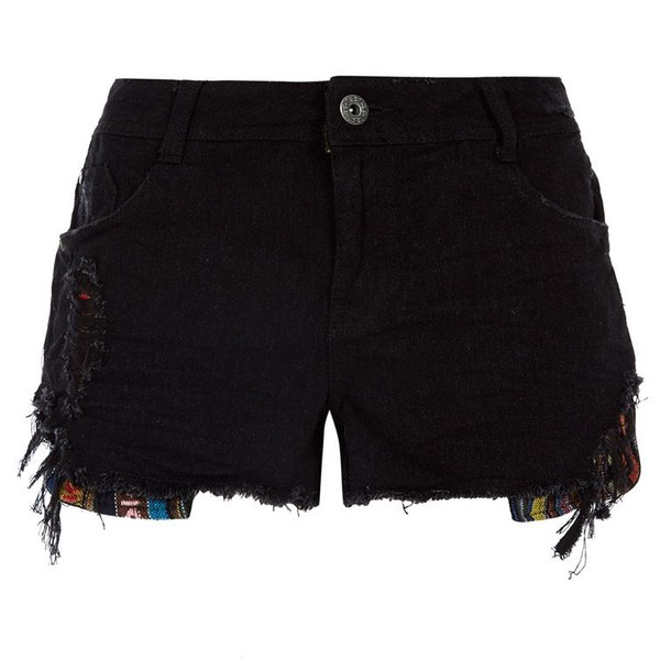 Black Tapestry Detail Denim Shorts - Polyvore