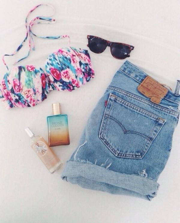 swimwear multicolor shorts blue demon blue shorts levi's shorts 501 swimwear sunglasses summer outfits floral swimwear