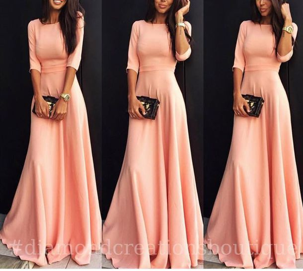 Casual Maxi Dresses with Sleeves in Pink