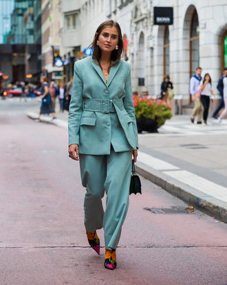shoes stockholm fashion week streetstyle power suit blue pants boots floral floral boots teal two piece pantsuits