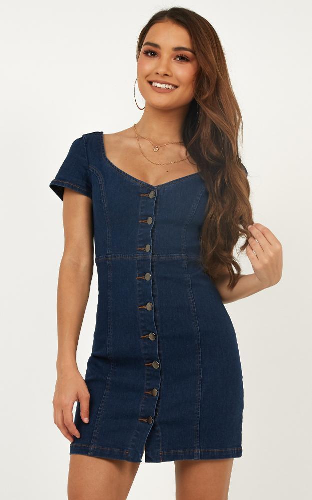 Showpo I Know you Care Dress in blue denim - 14 (XL) Pinafores &