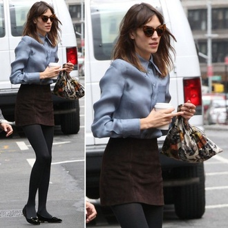 skirt alexa chung preppy mini skirt blue shirt