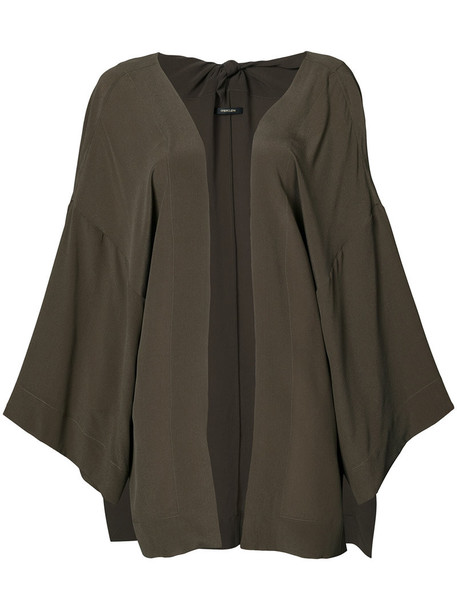 OSKLEN jacket kimono jacket oversized women silk green