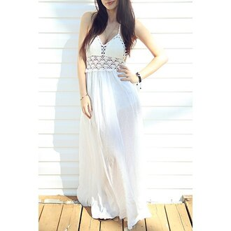 dress white maxi dress crochet fashion style trendy long dress rose wholesale-ap gamiss lace dress boho chic